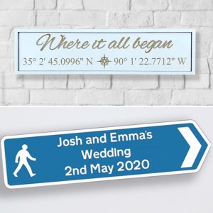 GPS Coordinates & Wedding Road Sign Bundle