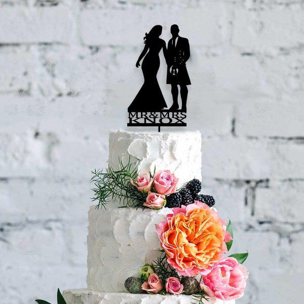 Silhouette Scottish Mr & Mrs Wooden Cake Topper