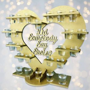 Personalised Heart Shot Glass Stand