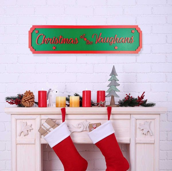 Vintage Christmas At The…. Personalised Street Sign