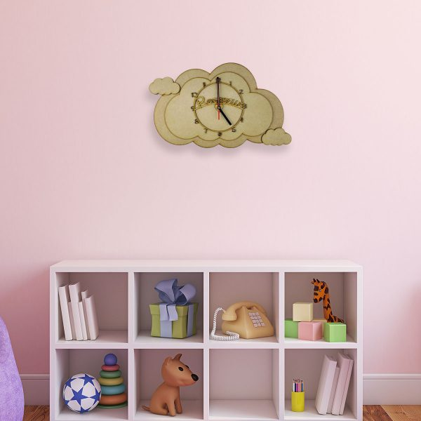 Personalised Wooden Children's Cloud Clock