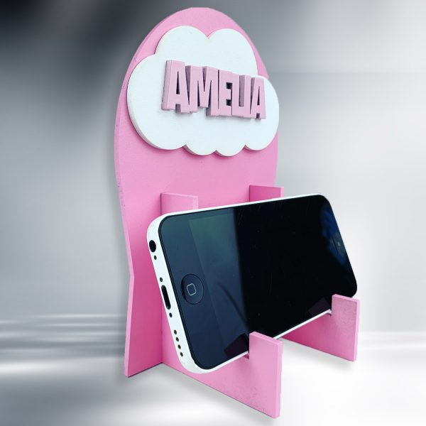 Cloud Personalised Wooden Phone / Game Stand