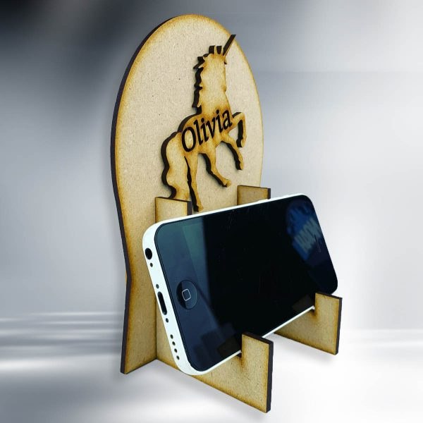 Unicorn Personalised Wooden Phone / Game Stand