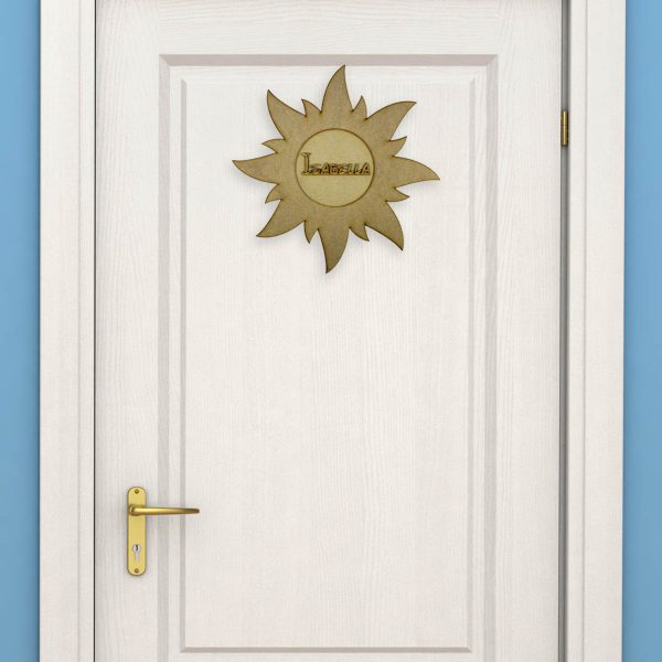 Personalised Wooden Sun Door Name