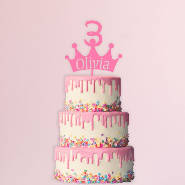 Princess Wooden Birthday Cake Topper
