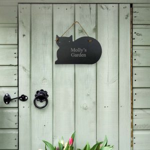 Personalised Slate Cat Name Sign