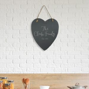 Personalised Slate Family Hanging Heart