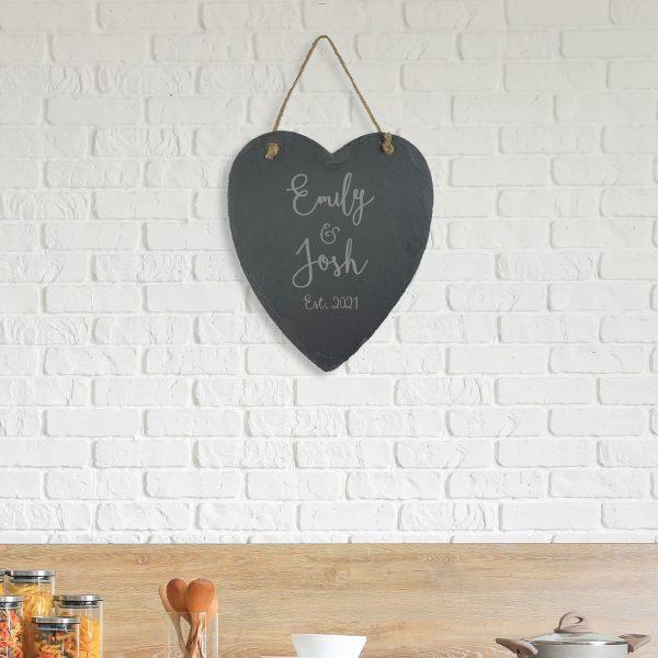 Personalised Slate Names Hanging Heart