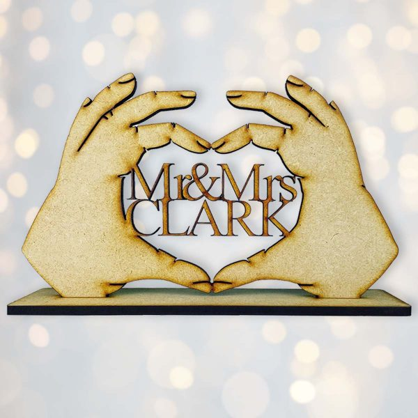 Personalised Love Heart Hands Name