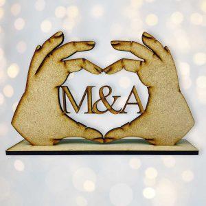 Personalised Love Heart Hands Initals