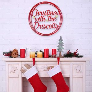 Elegant Hanging Round Christmas Sign