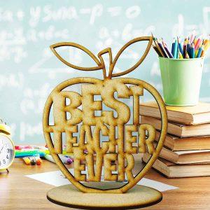 Best Teacher Standing Apple Cutout